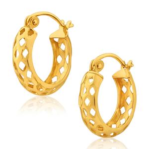 9ct Yellow Gold 11mm mesh look Hoop Earrings