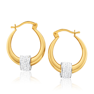 9ct Yellow Gold Hoop Earrings with crystal spinner set in silver