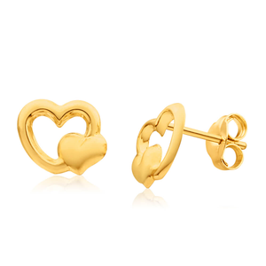 9ct Yellow Gold Double Heart Stud Earrings