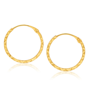 9ct Yellow Gold Diamond cut Sleepers Earrings in 15mm