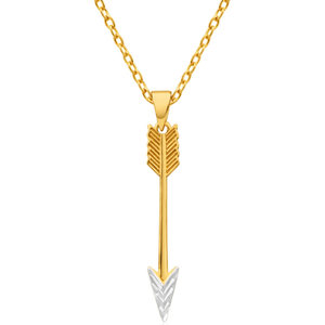 9ct Yellow Gold & White Gold Arrow Pendant