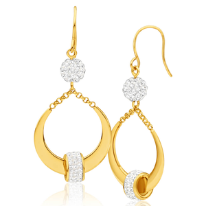 9ct Yellow Gold Crystal Drop Earrings with Crystal Spinner