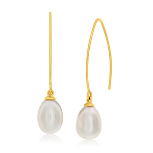 9ct Yellow Gold Fresh Water Pearl Long Drop Earrings
