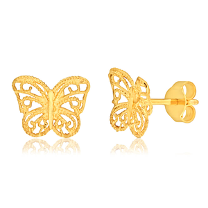 9ct Yellow Gold Butterfuly Stud Earrings