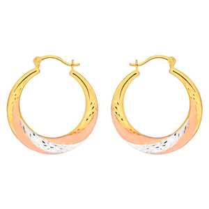 9ct Yellow Gold, White Gold & Rose Gold Swirl Creole Hoop Earrings