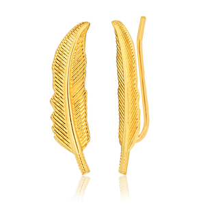 9ct Yellow Gold Feather ear climber Earrings