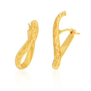 9ct Yellow Gold Fancy Diamond Cut Hoop Earrings