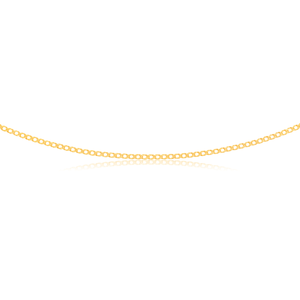9ct Yellow Gold Curb Double Diamond Cut 45cm Chain 40gauge