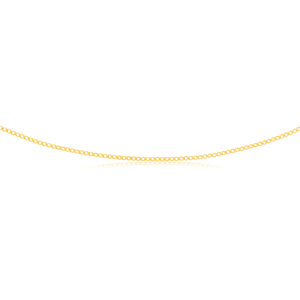 9ct Yellow Gold Curb Double Diamond Cut 45cm Chain 30gauge