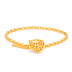 9ct Yellow Gold Oval Belcher Filigree  Heart Charm Padlock 19cm Bracelet