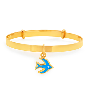 9ct Yellow Gold Expendable Blue Bird Baby Bangle