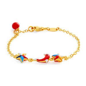 9ct Yellow Gold Kids 15cm Bracelet with 2 Stars and 1 Dolphin Enamel Charms