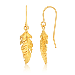 9ct Yellow Gold Feather Drop Earrings