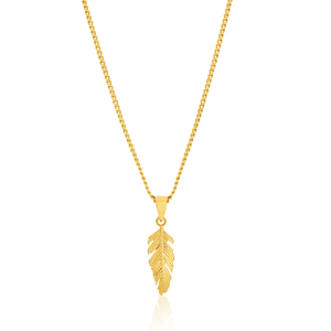 9ct Yellow Gold Feather Pendant