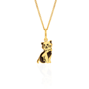 9ct Yellow Gold Engraved Cat Pendant
