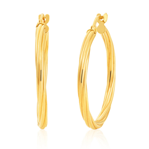 9ct Yellow Gold 20mm Hoop Earrings with Twist Eupopean made