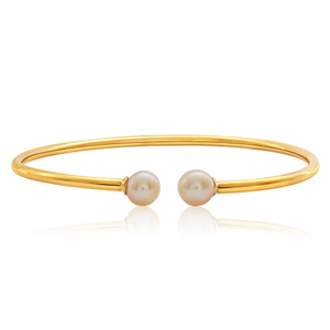 9ct Yellow Gold Plain 2.5mmx60mm Open Bangle with Freshwater Pearl Ends