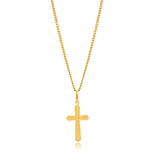 9ct Yellow Gold Plain & Diamond Cut 17mm Cross Pendant