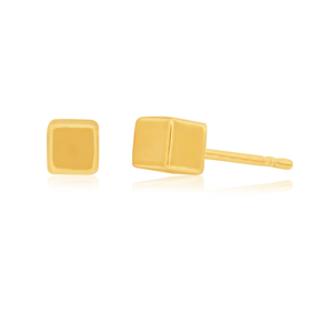 9ct Yellow Gold 3D Cube 3mm Studs