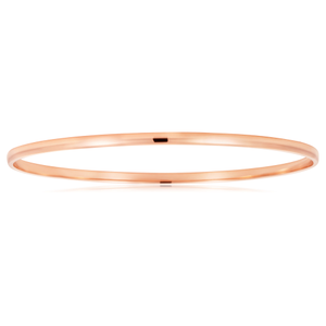 9ct Rose Gold Half Round 3mm x 65mm Bangle