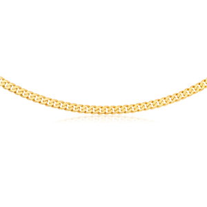 9ct Yellow Heavy Gold Curb Flat Bevelled 55cm Chain 250Gauge
