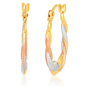 9ct Yellow Gold, White Gold & Rose Gold 8mm Hoop Earrings