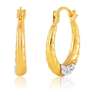 9ct Yellow Gold & White Gold Swarovski Crystal Hoop Earrings
