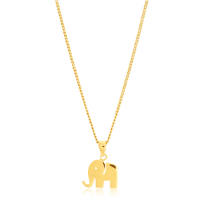 9ct Yellow Gold Plain Elephant Pendant