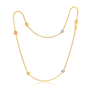 9ct Yellow Gold Trace Link 27cm Anklet with Diamond Cut Rose, White and Gold Beads