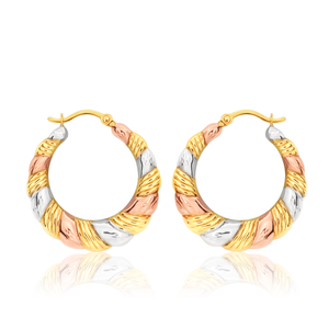 9ct gold multi tone 18mm twist hoops
