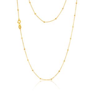 9ct Yellow Gold Belcher chain with beads in 45cm
