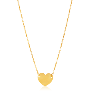 9ct Yellow Gold Plain Heart Disc Pendant on 42cm Chain