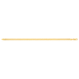 9ct Yellow Gold Flat Bevelled Curb 21cm Chain 120gauge