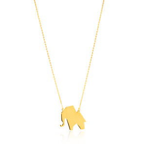 9ct Yellow Gold 45cm chain with Elephant Pendant