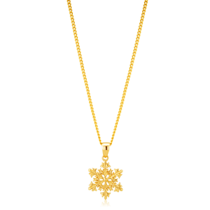 9ct Yellow Gold Snowflake Pendant