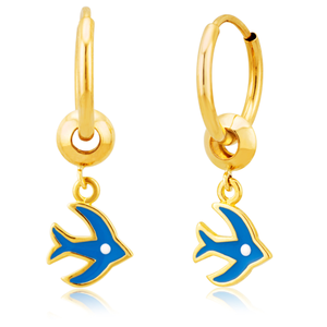 9ct Yellow Gold 10mm Hoop with blue Bird Charm