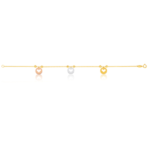 9ct Yellow Gold 18.5cm Bracelet with Diamond Cut Heart Charms Three Tone