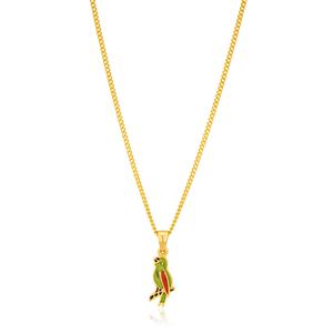 9ct Yellow Gold & Enamel Parrot 4.2MM Pendant