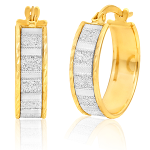 9ct Yellow Gold Stardust 15mm Hoops