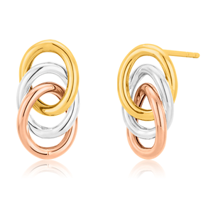 9ct Three Tone Gold Twined Ring Stud Earrings