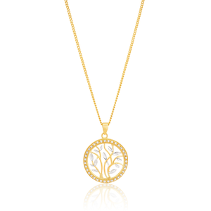 9ct Yellow Gold Two-Tone Leaf Pendant with Milgran and Diamond Cutting feature