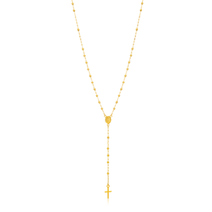 9ct Yellow Gold Rosary Madona & Cross 50cm