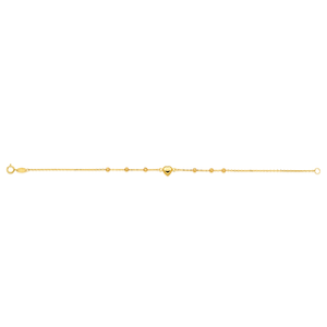 9ct Yellow Gold Bracelet 19cm woth Heart Charm