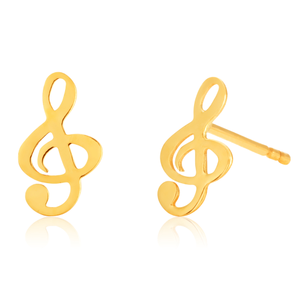 9ct Yellow Gold treble Cleff Stud  Earrings
