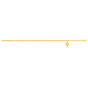 9ct yellow gold belcher 18.5cm bracelet with heart charm