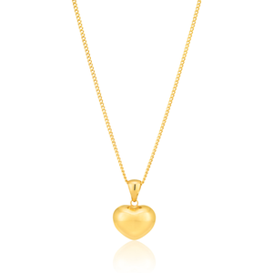 9ct Yellow Gold Plain Heart Puff Pendant