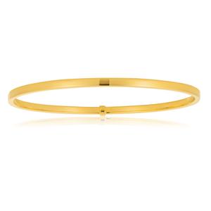 9ct Yellow Gold Bangle 3mm Tube 65mm diameter