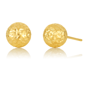9ct Yellow Gold Round 7mm Ball Studs 9y