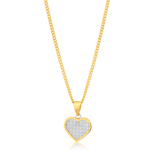 9ct Gold Star Dust Heart Charm on Chain 9y