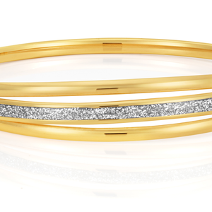 9ct Yellow Gold Bangle 65mm With Stardust Enamel Feature